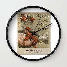 Be Kind To Animals 2 Wall Clock