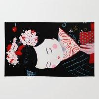 geisha Area & Throw Rugs featuring Geisha by Maripili