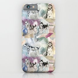 Malamute Dogs in Pastel Pattern iPhone Case