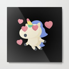 Flying Unicorn In Love With Hearts Metal Print