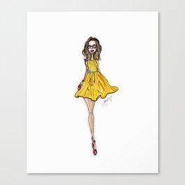 Miss Sunshine Fashion Illustration Art Print Canvas Print