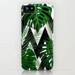 Geometrical green black white tropical monster leaves iPhone Case