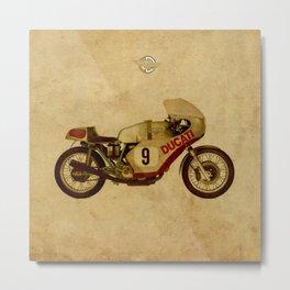 motorcycle number 9 vintage bacjground old logo Metal Print