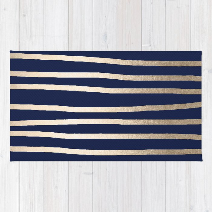 Drawn Stripes White Gold Sands on Nautical Navy Blue Rug