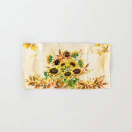 Sunflowers and Autumn Leaves Hand & Bath Towel
