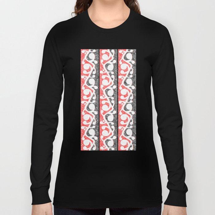 Maori Kowhaiwhai Distressed Pattern Long Sleeve T-shirt