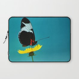 butterfly on yellow flower blue background Laptop Sleeve