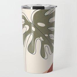 Minimal Line Monstera Travel Mug
