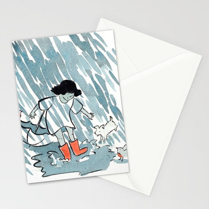 Rainy Day Boots Stationery Cards