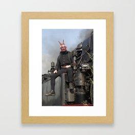 Steam locomotive with mephistopheles. Framed Art Print