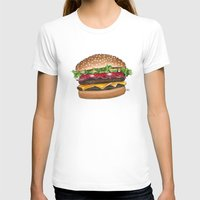 junk food T-shirts featuring junk food - burger by Bleachydrew