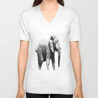 african V-neck T-shirts featuring African Elephant by T.E.Perry
