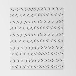 linocut Mudcloth grey and white minimal modern chevron arrows pattern gifts dorm college decor Throw Blanket