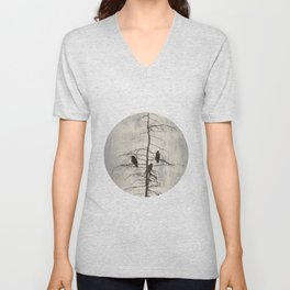 Full Moon and Crows Unisex V-Neck