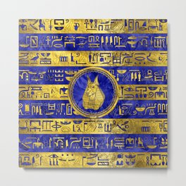 Golden Anubis  with hieroglyphs on blue Metal Print