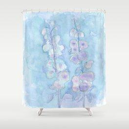 Pale Blue Hollyhock Foxglove Minimalist Watercolor Shower Curtain