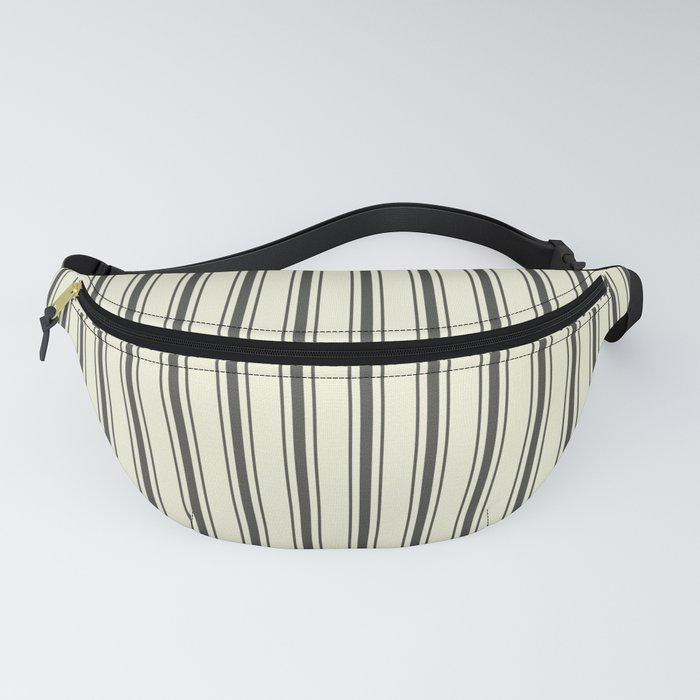 Mattress Ticking Wide Striped Pattern in Dark Black and Beige Fanny Pack