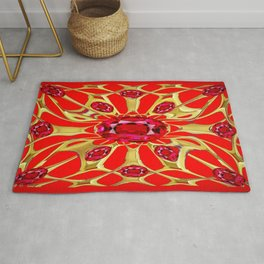 Red Rubies Gold Jewelry July Birthstone Art Rug