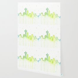 Seattle Skyline Watercolor Space Needle Painting Wallpaper