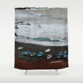 Fishing boats on a black sand beach - minimalist Landscape Photography Art Print Shower Curtain