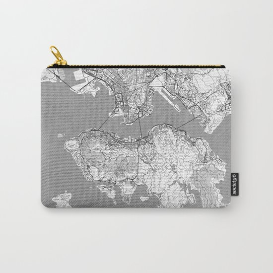 Hong Kong Map Line Carry-All Pouch