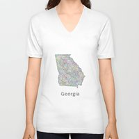 georgia V-neck T-shirts featuring Georgia map by David Zydd