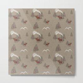 Moose and Mountains Pattern Metal Print