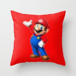 Mario - Toy Building Bricks Throw Pillow