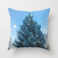 christmas tree Throw Pillows featuring Christmas tree  by Svetlana Korneliuk