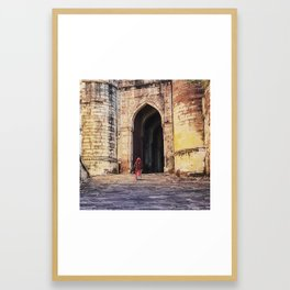A Woman Enters Mehrangarh Fort in India Framed Art Print