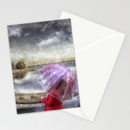 The Girl in Red Coat Stationery Cards