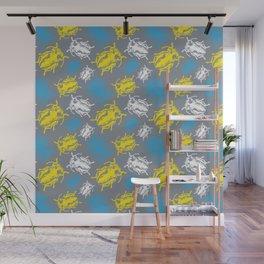 Beetles on Grey Background Pattern Wall Mural