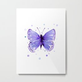 Butterfly Painting Purple Violet Abstract Butterfly Metal Print