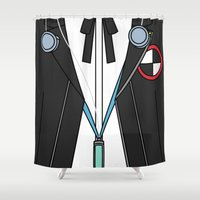 persona Shower Curtains featuring Persona 3 Protagonist Uniform by Bunny Frost