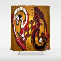 ying yang Shower Curtains featuring Ying Yang Ver .1 by Nerd Artist DM