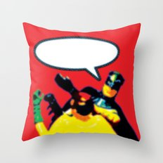Robin and Bat Man in Action Throw Pillow
