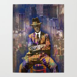 New York Man Seated City Background 1 Poster