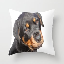Female Rottweiler Puppy Making Eye Contact Vector Isolated Throw Pillow