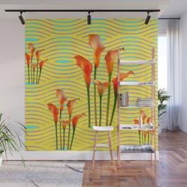 Yellow Modern Art Golden Calla Lilies Wall Mural