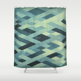 Abstract Pattern in Blue Shower Curtain