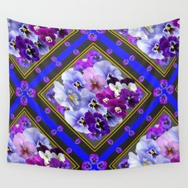 PURPLE & WHITE PANSY GARDEN IN BLUE Wall Tapestry