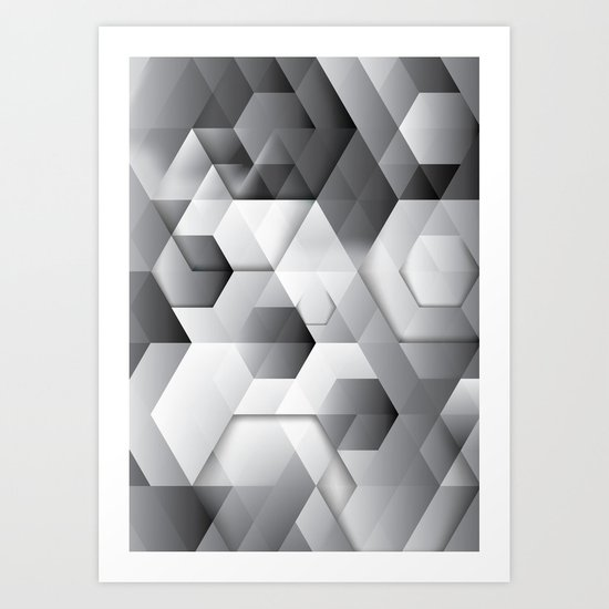 Black geometrics Art Print
