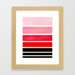 Red Minimalist Mid Century Modern Color Fields Ombre Watercolor Staggered Squares Framed Art Print