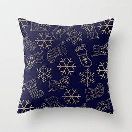 Navy blue and faux gold foil Christmas snowflakes stockings  Throw Pillow