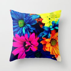 Neon Daisies Throw Pillow