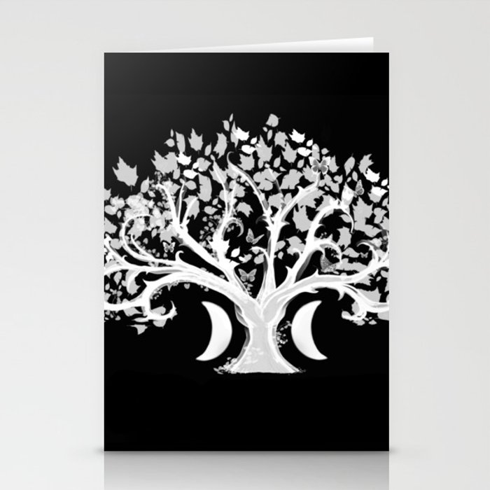 The Zen Tree - White on Black Stationery Cards