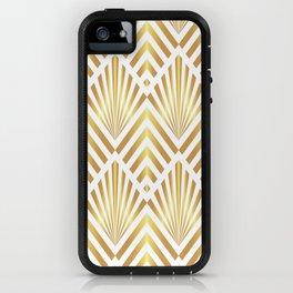 Gold art deco diamonds on white iPhone Case
