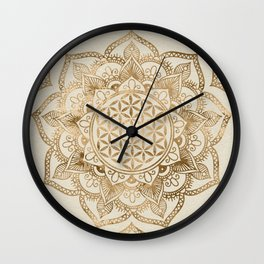 Flower of Life in Lotus - pastel golds and canvas Wall Clock