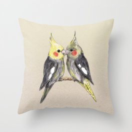 Two cute cockatiels Throw Pillow