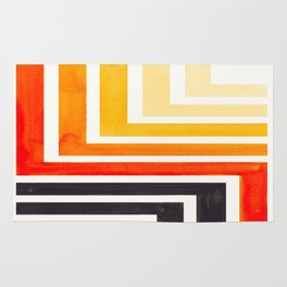 Orange Mid Century Modern Watercolor Colorful Ancient Aztec Art Pattern Minimalist Geometric Pattern Rug